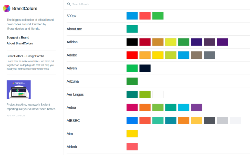 BrandColors – the largest collection of brand color codes